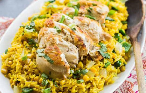 arroz poblano con pollo